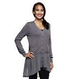 LOGO Lori Goldstein Gray Chiffon Cardigan Sweater